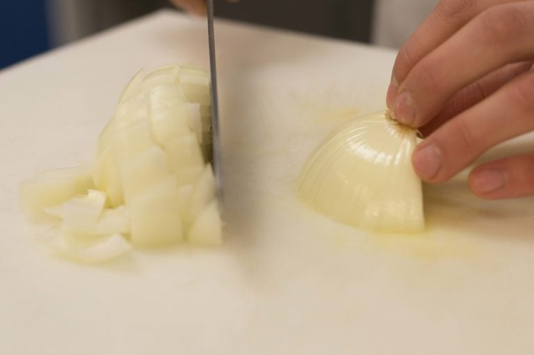 Chopping the onion