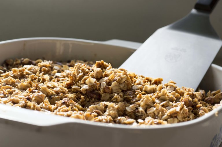 Fresh granola right out of the oven in the baking pan