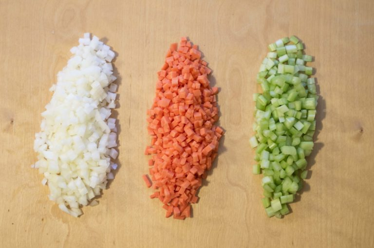 Onion, carrot and celery nicely diced