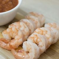 shrimp cocktail plated and ready to eat