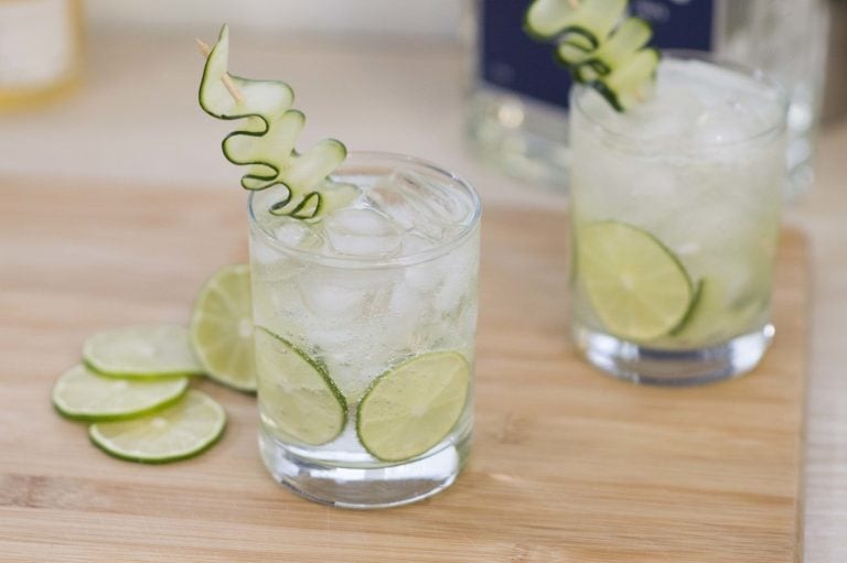 The Cucumber Gin & Tonic garnished and ready to drink