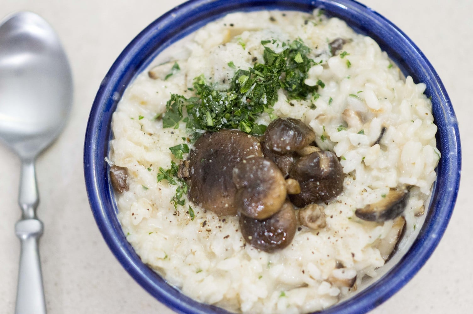 The Shiitake Mushroom Risotto plated and ready to serve