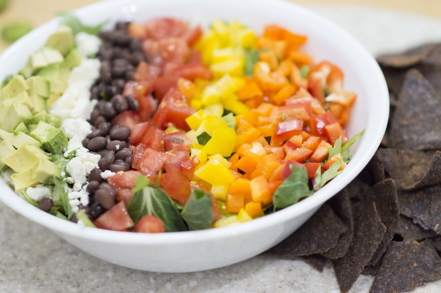 The Rainbow Taco Salad served and ready to eat