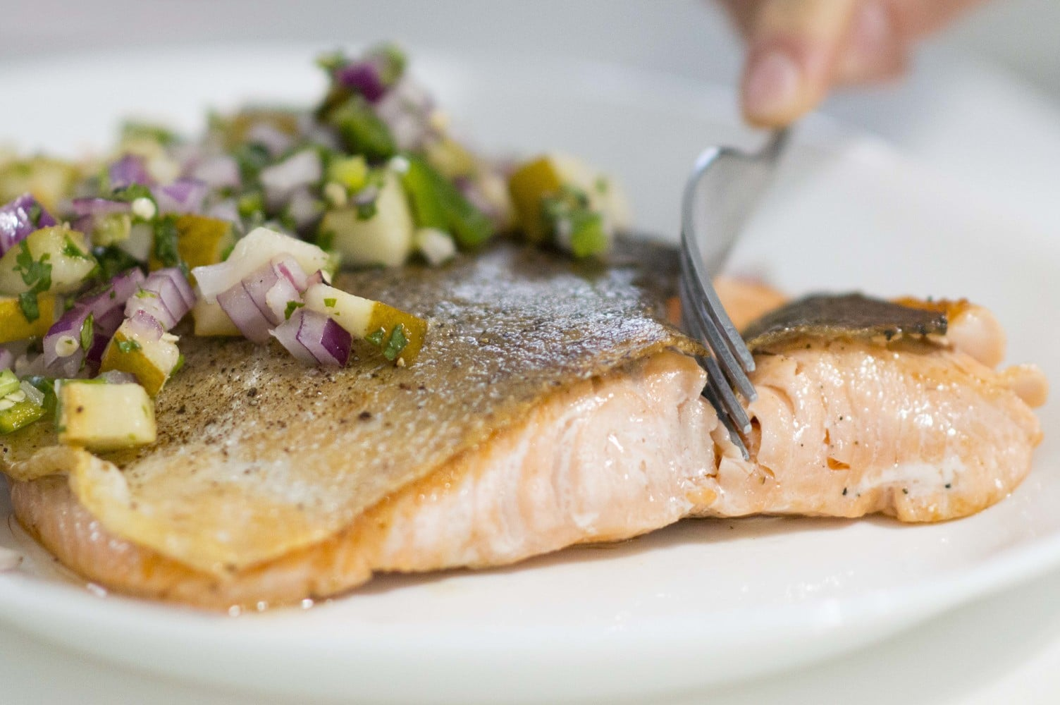 The Crispy Skin Salmon plated and ready to eat