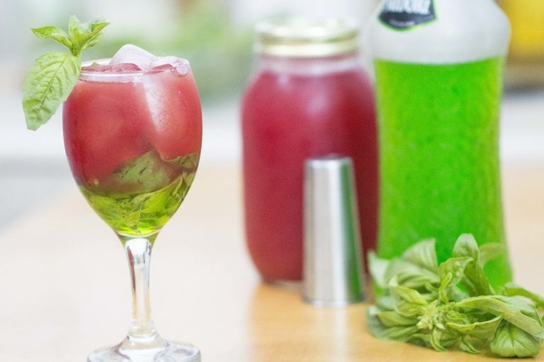 The White Wine Watermelon Cooler served and ready to drink