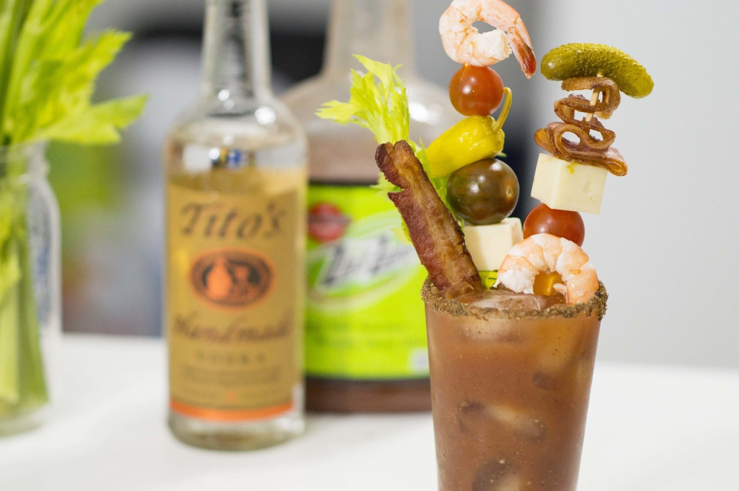 The Loaded Bloody Mary garnished and ready to serve