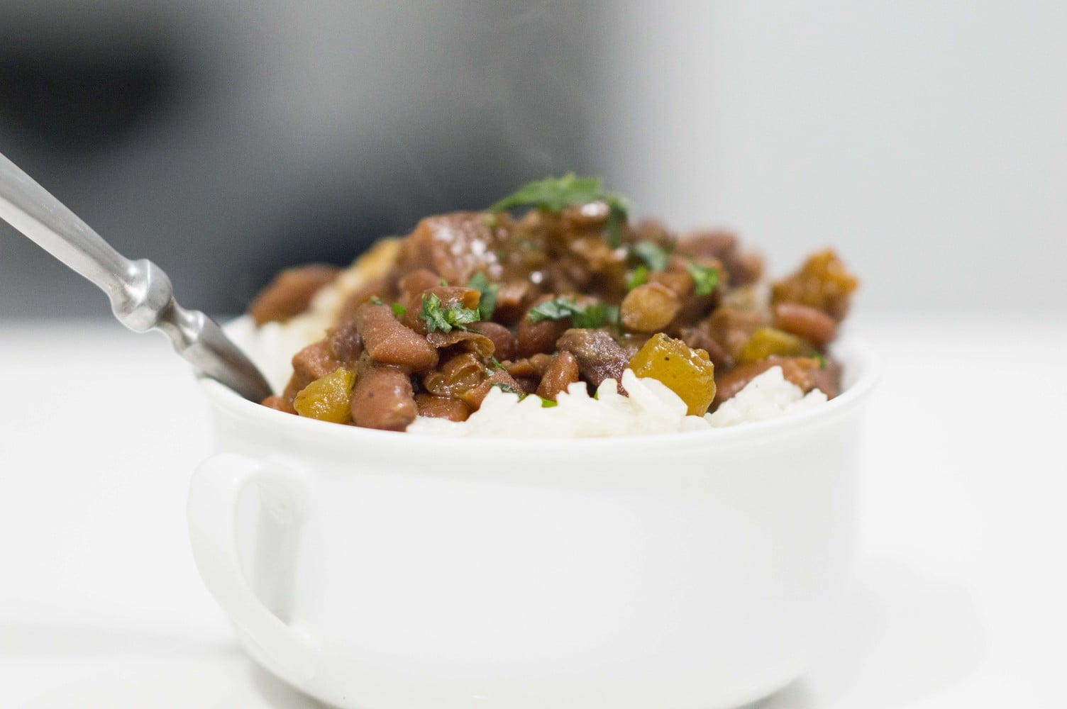 New Orleans Red Beans & Rice dished up and ready to eat