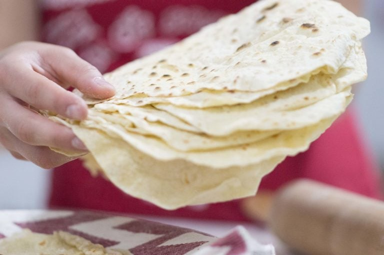 Homemade Flour Tortillas cooked and ready to eat