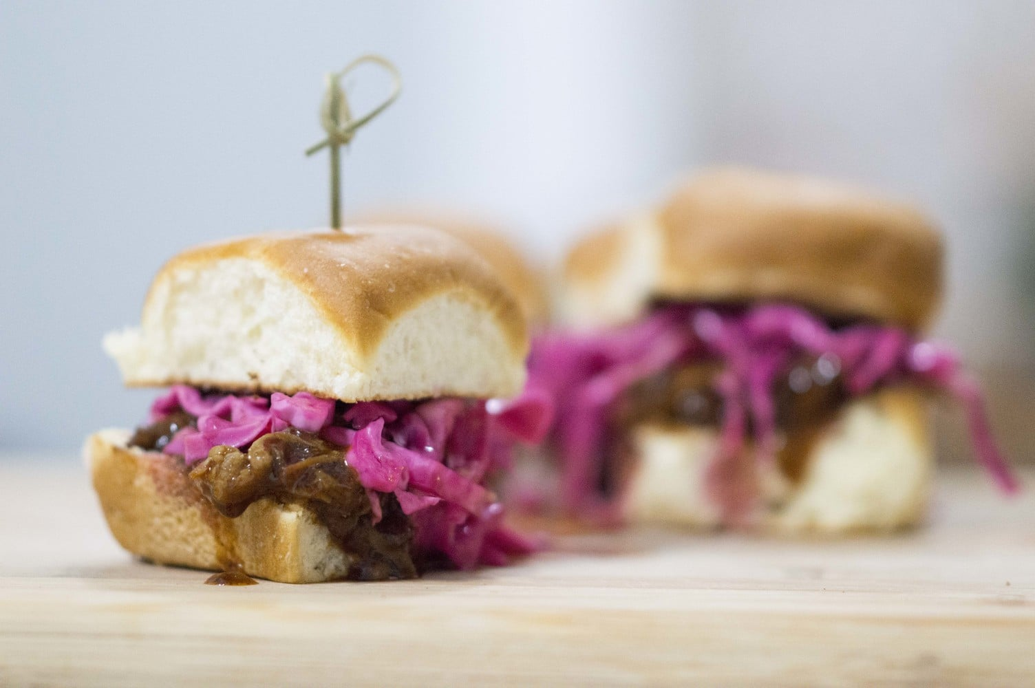 Pulled Pork Sliders with Pickled Red Cabbage dished and ready to eat