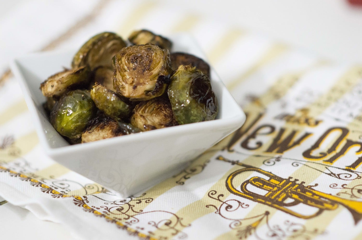 Sweet & Spicy Balsamic Brussel Sprouts dished and ready to serve
