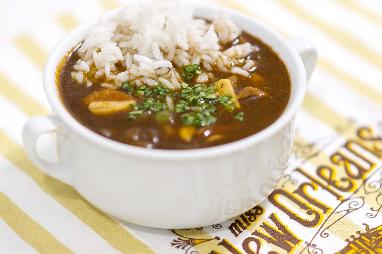 Chicken and Sausage Gumbo server up and ready to eat