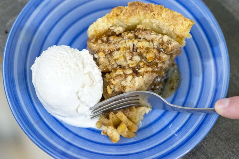 Balsamic Apple Pie served with vanilla ice cream