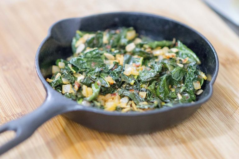 Spicy Collard Greens dished up and ready to eat