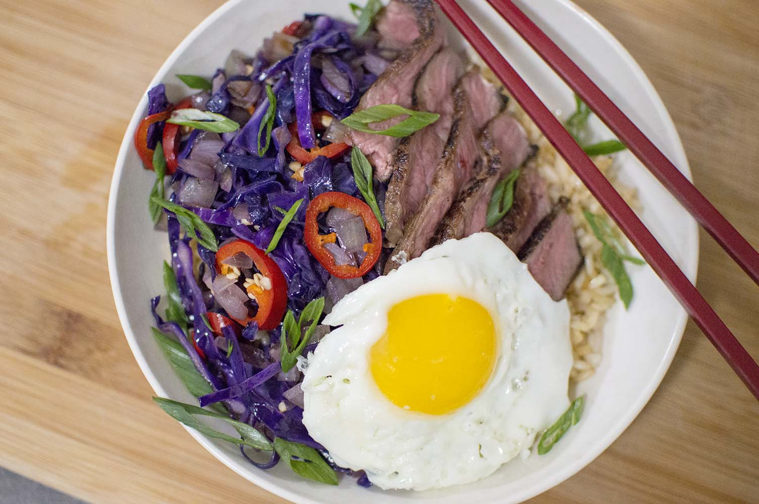 Garlic Fried Rice with Steak served and ready to eat