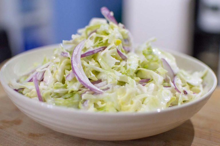 Red Onion Coleslaw dished up and ready to eat