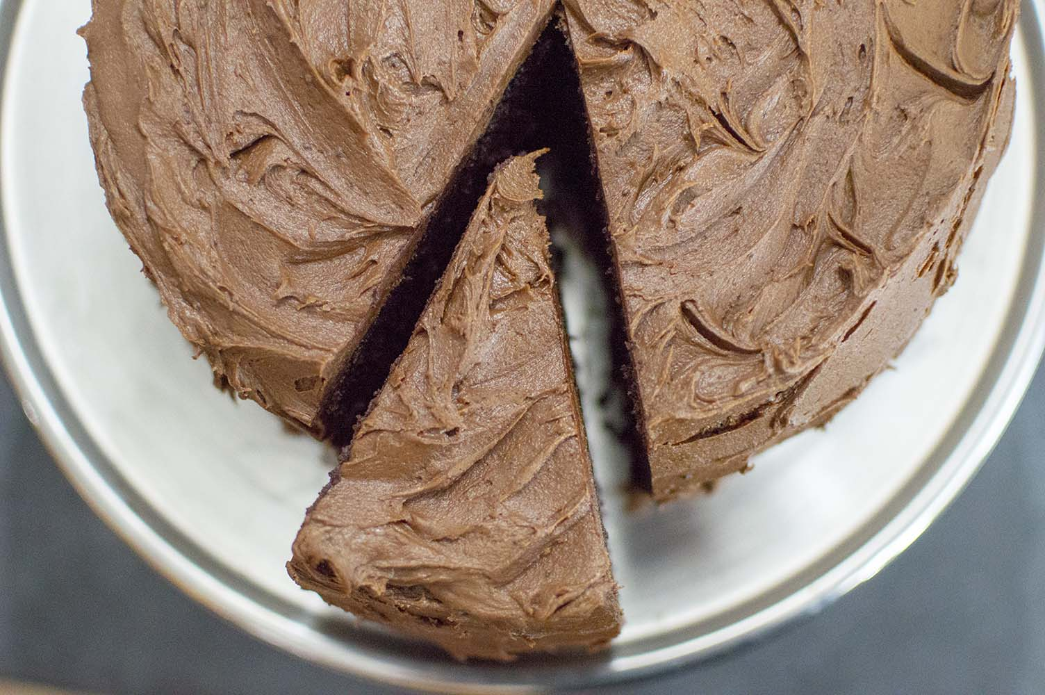 Three Layer Chocolate Cake sliced and ready to serve