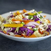 Crunchy Mango Asian Slaw dished up and ready to eat