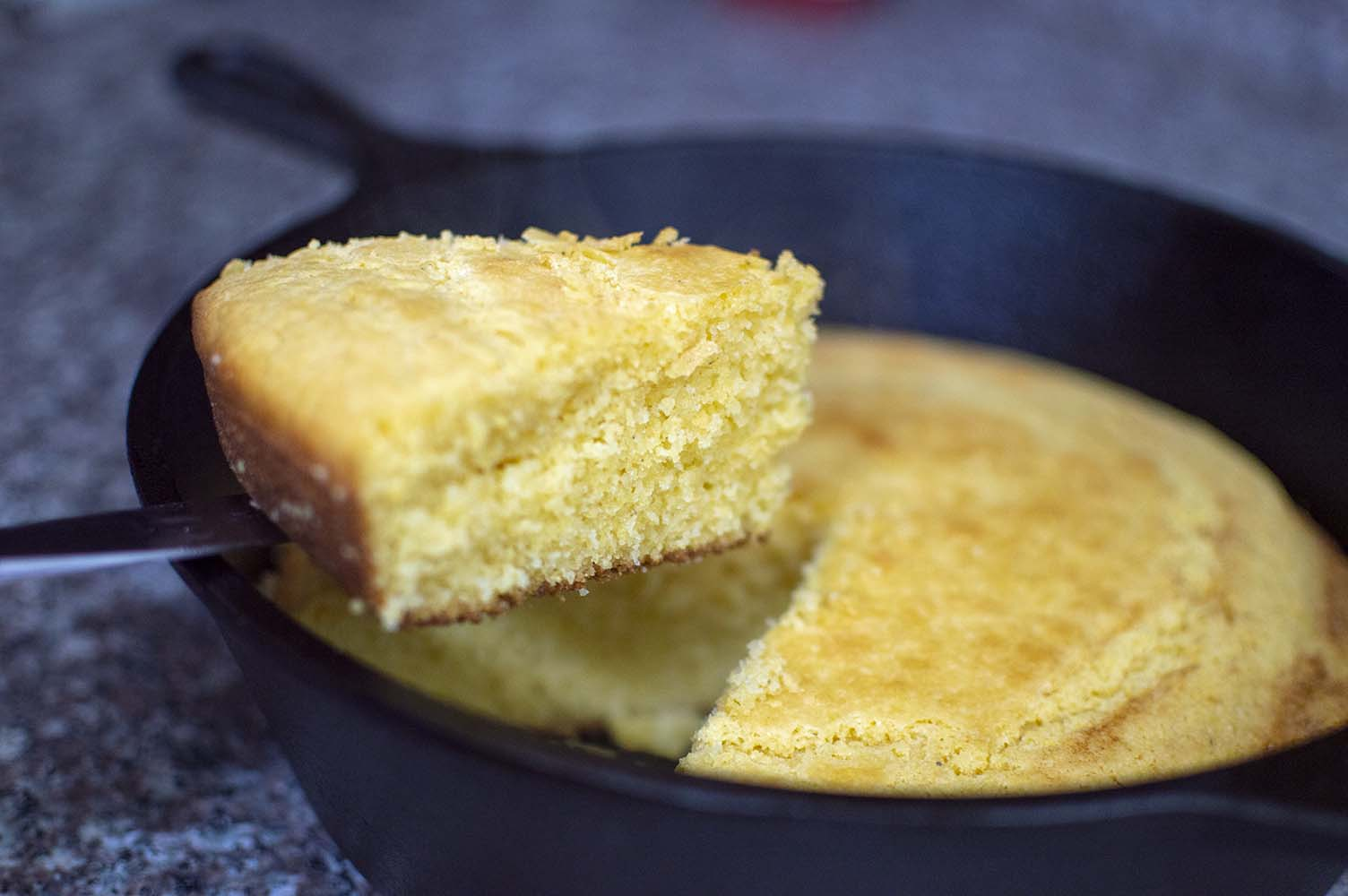 Cast Iron Cornbread baked and ready to eat
